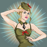 Pin-Up Sexy girl in military uniform saluting 23 February Royalty Free Stock Photography