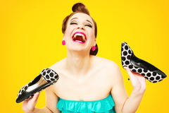 Pin-up shoemaniac Royalty Free Stock Images