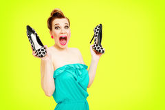 Pin-up shoemaniac Stock Image