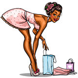 Pin Up shopping girl. On white Stock Images