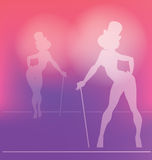 Pin-up silhouette of cabaret girl Stock Photography