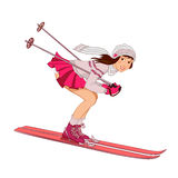 Pin-up skiing girl on a white background. Pin-up girl in pink skirt skiing isolated on a white background Stock Photo
