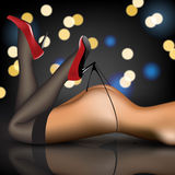 Pin-up in stockings and shoes Stock Images