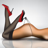 Pin-up in stockings and shoes Royalty Free Stock Images