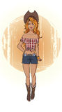 Pin up style cowgirl Stock Images