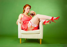 Pin-up style girl Royalty Free Stock Images