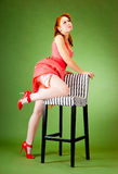 Pin-up style girl Stock Images
