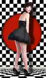 Pin Up Style Girl en estudio Imagenes de archivo