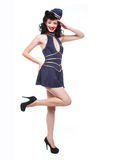 Pin Up Style Girl in Studio Royalty Free Stock Photos