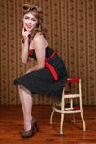 Pin Up Style Girl in Studio Stock Photo