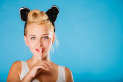 Pin up style, retro girl with silence sign. Royalty Free Stock Photography