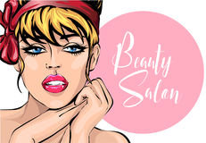 Pin up style sexy beautiful woman portrait with speech bubble beauty salon, pop art comic girl looking forward  illustration. Background Royalty Free Stock Photo