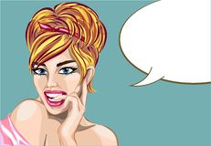 Pin up style sexy dreaming woman portrait with speech bubble, pop art girl looking up face,  Royalty Free Stock Photography