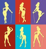Pin up style silhouette of show girl. Pin up style silhouette of dancing woman perform cabaret burlesque show Royalty Free Stock Photography