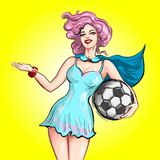 Pin Up Style Vector Hand Drawn Illustration Cartoon Girl Holding Soccer Ball And Welcoming Inviting Guesture Stock Image