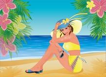 Pin up summer beautiful girl Stock Images