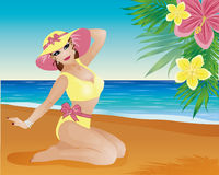 Pin up summer girl and palm flowers Stock Image