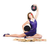 Pin-up woman balancing sound with record music Royalty Free Stock Image
