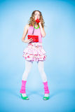 Pin-up woman calling by phone Royalty Free Stock Image