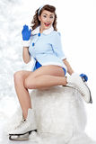 Pin-up woman going to ice skating Royalty Free Stock Image