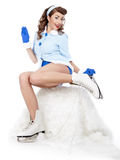 Pin-up woman going to ice skating Royalty Free Stock Photos