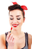 Pin-up woman with lipstick Royalty Free Stock Photography