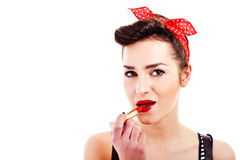 Pin-up woman with lipstick Stock Images