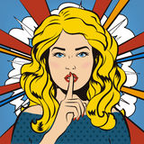 Pin up woman putting her forefinger to her lips for quite silence. Pop art comics style. Vector illustration. Pop art girl says sh Royalty Free Stock Photos