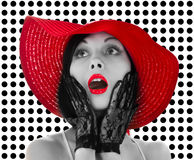 Pin-up woman with red hat and lips Royalty Free Stock Photos
