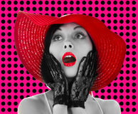 Pin-up woman with red hat and lips Stock Photography