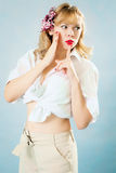 Pin-up young blonde woman Stock Photography
