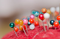 Pin use in sewing cloth Stock Photography