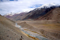 Pin Valley. The Himalayan Pin Valley (and river) as can be seen from the way outskirts of Mudh village. Taken at, Pin Valley, Pin Valley National Park, Spiti Stock Photo