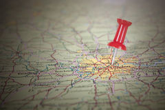 Pin vermelho no mapa de Londres Imagem de Stock