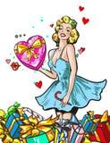 Pin vers le haut de femme avec le caractère blond de fille de cadeaux heureux illustration stock