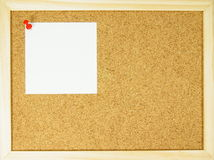 Pin wall. Empty cork pin wall with paper and wooden frame Royalty Free Stock Photos