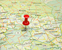 Pin in wienna capital on map Stock Photo