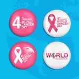Pin World cancro giorno fondo del 4 febbraio illustrazione vettoriale