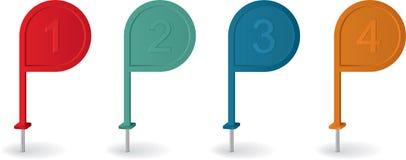 Pin-Zeiger mit Zahlen in den verschiedenen Farben Lizenzfreie Stockbilder