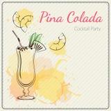 Pina Colada Συρμένη χέρι διανυσματική απεικόνιση του κοκτέιλ ζωηρόχρωμο watercolor ανασκόπησης Στοκ εικόνα με δικαίωμα ελεύθερης χρήσης