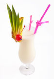 Pina Colada. Classical Pina Colada cocktail in hurricane glass on isolated white background royalty free stock photos