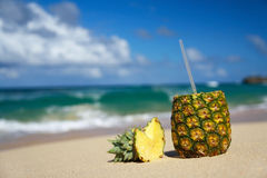 Pina colada on beach of Atlantic ocean Stock Photography
