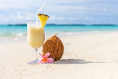 Pina Colada cocktail on the beach. With coconut and exotic flower Royalty Free Stock Photo