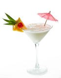 Pina colada. Cocktail garnished with a pineapple slice on a white background stock image