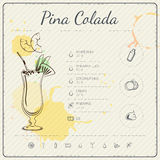 Pina Colada. Cocktail infographic set. Vector illustration. Colorful watercolor background Stock Photography