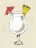 Pina colada cocktail with pineapple Royalty Free Stock Photo