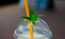 Pina colada cocktail in plactic glass with cover and tubule. Mint leaf on cover. stock images