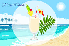 Pina Colada cocktail on the seaside background stock photo