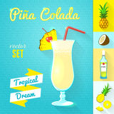 Pina Colada Cocktail Set. Vector illustration, eps10. Royalty Free Stock Photos