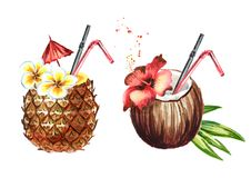 Pina colada cocktail set. Watercolor hand drawn illustration, isolated on white background. vector illustration
